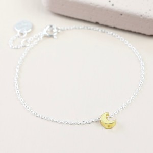 Sterling Silver Gold Puffed Moon Anklet