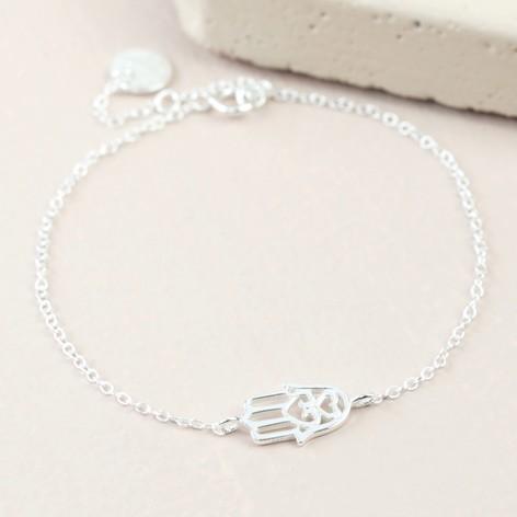 Heart Hamsa Hand Sterling Silver Bracelet