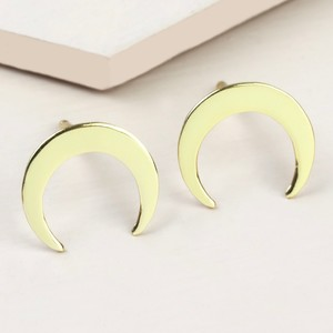 Gold Sterling Silver Horn Stud Earrings