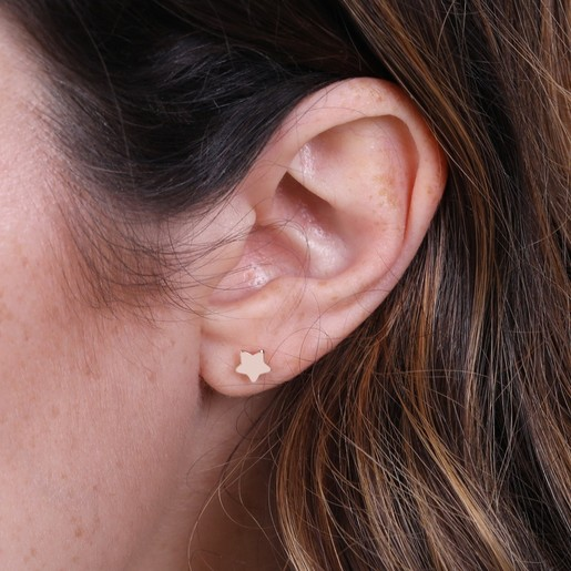 4ac95dd76 Puffed Star Rose Gold Sterling Silver Stud Earrings | Lisa Angel