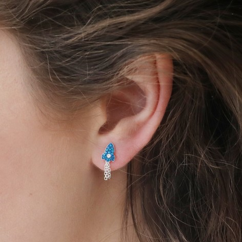 c30a40d9c Sterling Silver and Blue Crystal Rocket Stud Earrings. Sterling Silver and  Blue Crystal Rocket Stud Earrings on Model. Lisa Angel Quirky Hypoallergenic  ...