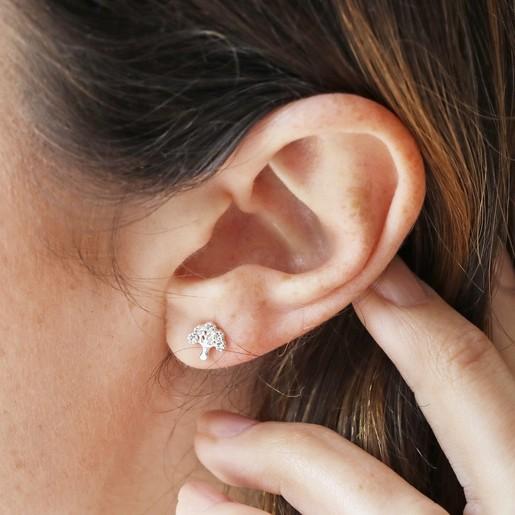 79bd4d9c569 Sterling Silver Crystal Tree Stud Earrings on Model. Lisa Angel Ladies'  Hypoallergenic ...
