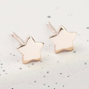 Rose Gold Sterling Silver Puffed Star Stud Earrings