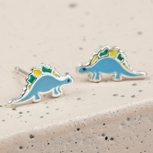 Sterling Silver Enamel Dinosaur Stud Earrings