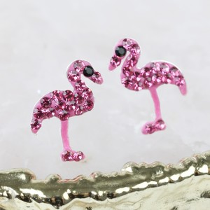 Pink gem Flamingo Gem Stud Earrings