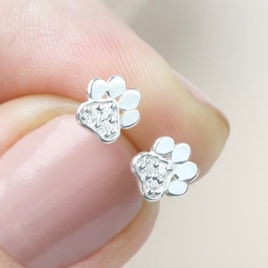 Silver CZ stone paw stud earrings