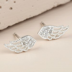 Sterling Silver Crystal Wing Stud Earrings