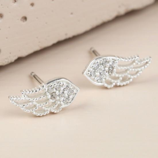 Sterling Silver Crystal Wing Stud Earrings