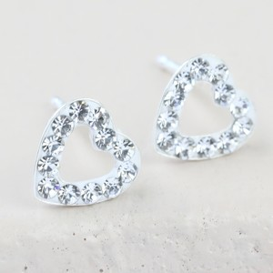 Crystal open heart stud Earrings