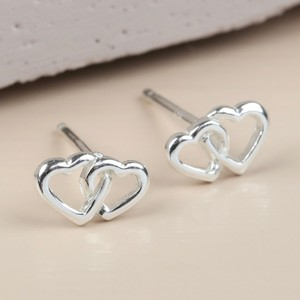 Sterling Silver Interlocking Heart Stud Earrings