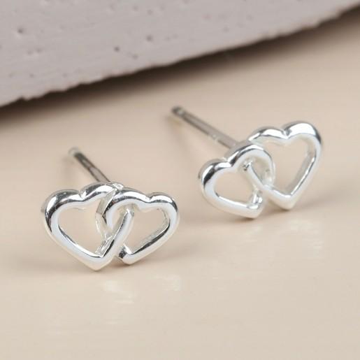 6046e661e Interlocking Heart Sterling Silver Stud Earrings | Lisa Angel