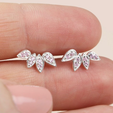 0c390ca7f22 Ladies' Sterling Silver Crystal Leaf Earrings in Pink   Lisa Angel