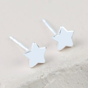 Sterling Silver Puffed Star Stud Earrings
