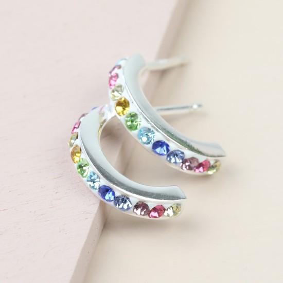 Sterling Silver Rainbow Crystal Hoop Stud Earrings