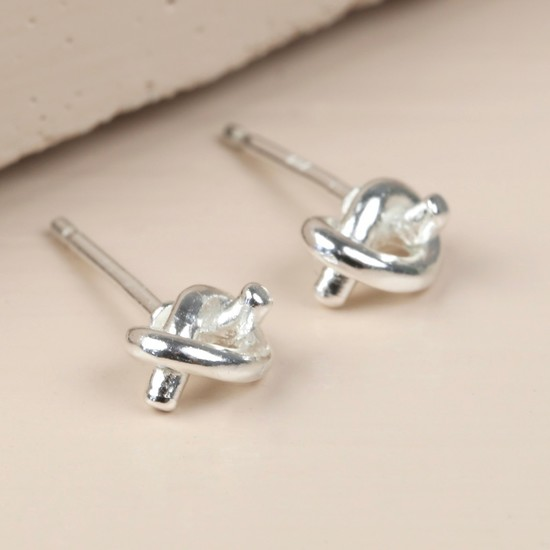 Sterling Silver Tied Knot Earrings