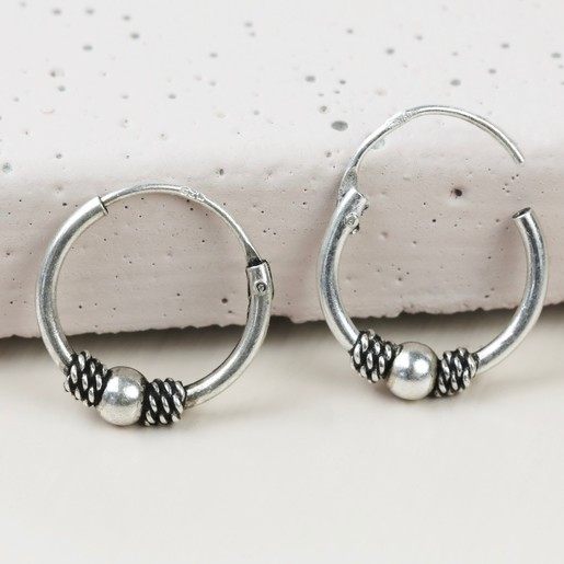 7855a4c3c Lisa Angel Ladies' Hypoallergenic Sterling Silver Vintage Style Bead Hoop  Earrings