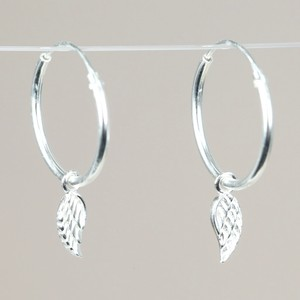 Sterling Silver Wing Charm Hoop Earrings