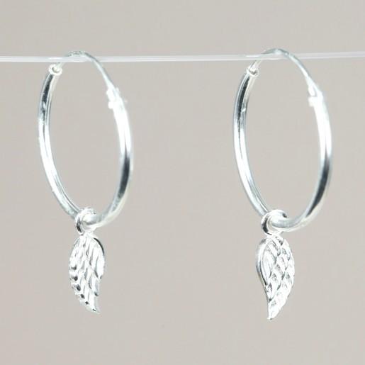 Angel Wing Earrings  Silver Angel wing Charm Earrings hoops charms 925 sterling silver earrings hoops