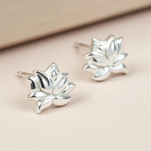 Tiny Sterling Silver Lotus Flower Stud Earrings