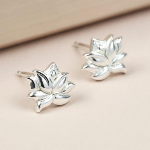 Sterling Silver Tiny Lotus Flower Stud Earrings Lisa Angel