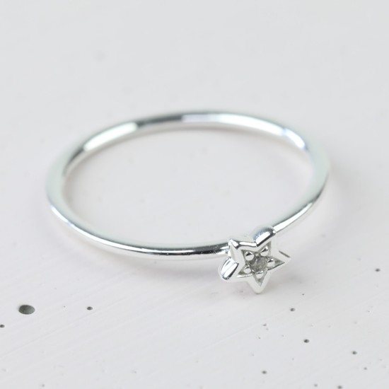 Sterling Silver Crystal Star Ring - S/M