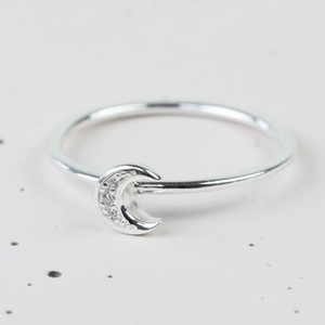 Sterling Silver Crystal Moon Ring - medium/large