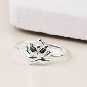 Sterling Silver Lotus Flower Ring - medium/large