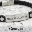 Lisa Angel Men's Sentimental Personalised Leather and Brushed Bar Bracelet in Black