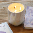 Lisa Angel with Large Personalised Paddywax Iridescent Cotton & Teak Scented Candle