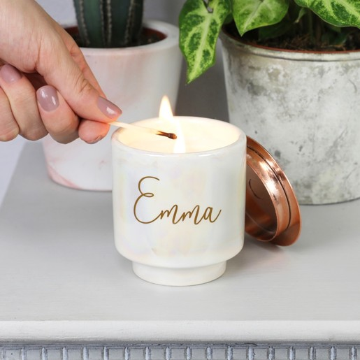 333ee5435b Lisa Angel with Mini Personalised Paddywax Iridescent Cotton & Teak Scented  Candle