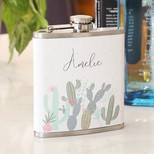 Personalised Stainless Steel Cactus Name Hip Flask