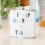 Personalised Stainless Steel 'Hip Hip Hooray' Hip Flask