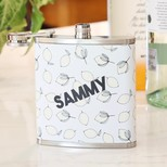 Personalised Stainless Steel Lemon Name Hip Flask