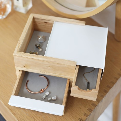 umbra stowit mini wooden storage box in white lisa angel