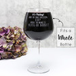 Personalised 'Glass or Bottle' Whole Bottle Wine Glass