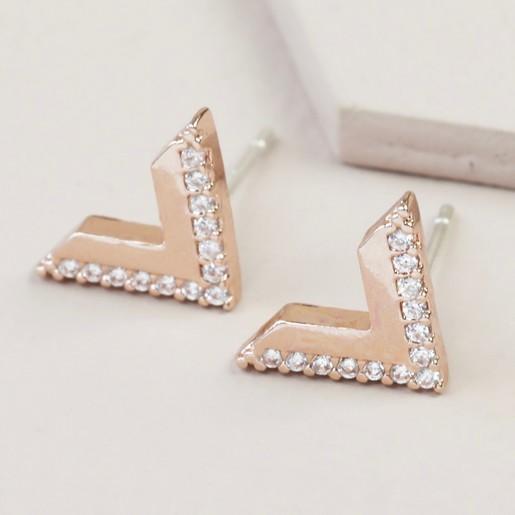 98a9035ce9d Rose Gold Crystal Chevron Stud Earrings   Lisa Angel Jewellery