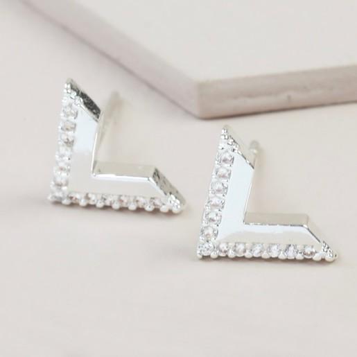 a18c2adca64 Crystal Chevron Stud Earrings in Silver   Jewellery   Lisa Angel
