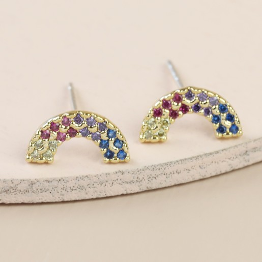 a171d2adb5505e Lisa Angel Ladies' Delicate Tiny Crystal Rainbow Stud Earrings in Gold
