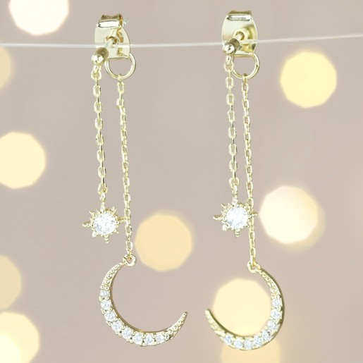 Crystal Star And Moon Double Drop Earrings In Gold Lisa Angel