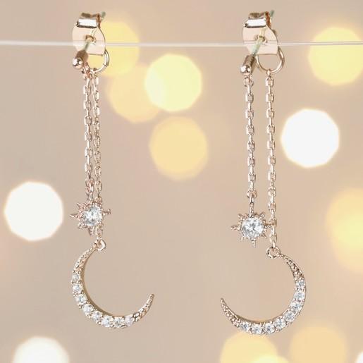 Crystal Moon Double Drop Earrings In Rose Gold Lisa Angel