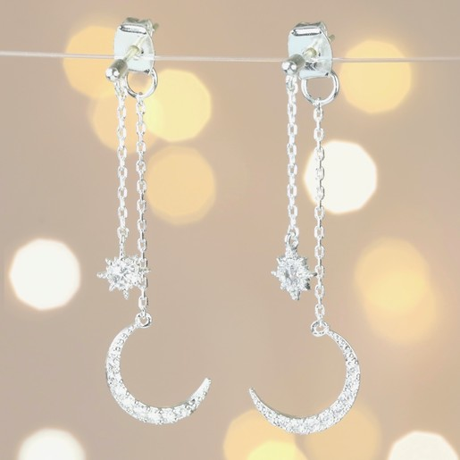 e9751ce49 Lisa Angel Ladies' Crystal Star and Moon Double Drop Earrings in Silver