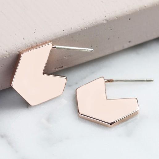 12c0710c1 Lisa Angel Ladies' Hexagonal Hoop Stud Earrings in Rose Gold