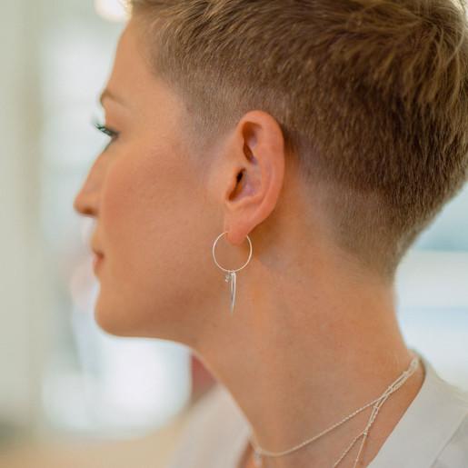 abddc334c Lisa Angel Ladies' Horn and Hoop Earrings in Silver and Rose Gold