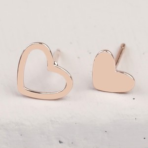 Mismatched Heart Stud Earrings in Rose Gold