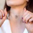Long Cut Out Oval and Crystal Star Necklace on Model