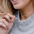 Lisa Angel Silver Interlocking Stars Necklace on Model