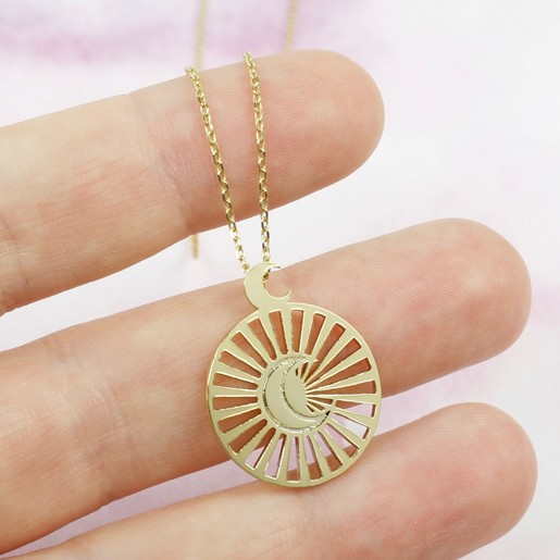 d868560366 Lisa Angel Delicate Gold Moon and Sun Disc Pendant Necklace