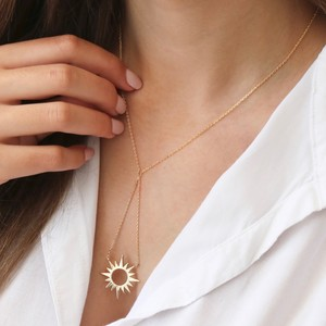 Gold Sunburst Pendant Lariat Necklace