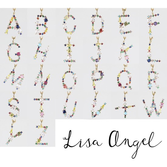 Rainbow Crystal Initial Necklace in Gold - A