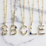 Rainbow Crystal Initial Necklace in Gold